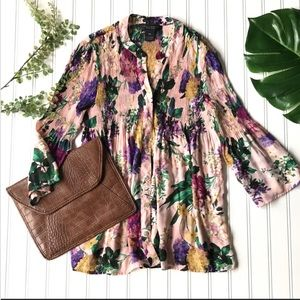 Tops - Floral blouse pink green pleated blue petite